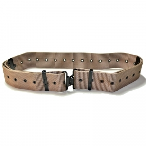 Beige Military Belt with Steel Buckle